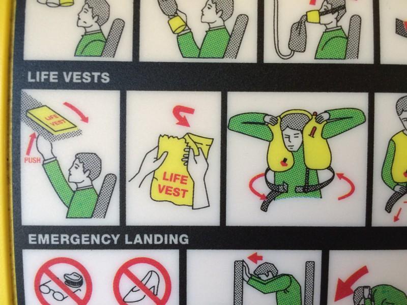 Bei Ryanair gibt's Rettungswesten in Tüten mit vorperforierter Öffnung.
